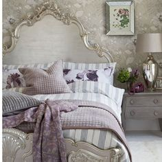 Love this color pallet. Headboard, Footboard painted Silver: Glamorous silver bedroom:: This stylish bedroom combines silver gilding, glamorous furniture and large-scale prints for a modern twist on a classic look. House to Home UK Dream Bedroom, Home Bedroom, Bedroom Decor, Bedroom Ideas, Pretty Bedroom, Garden Bedroom, Bedroom Furniture, Silver Bedroom, Lilac Bedroom