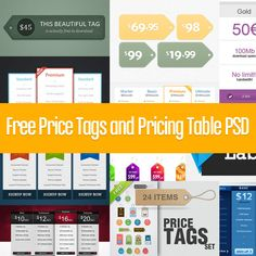 Free pricing tags / tables psd templates