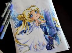 Chibi Princess Serenity by Lighane - CLS Sailor Moon Manga, Sailor Moon Art, Sailor Moon Crystal, Anime Chibi, Kawaii Anime, Anime Art, Beautiful Drawings, Cute Drawings, Copic Marker Art