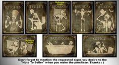 Signes de squelettes cool et unique pour vos portes de maison. Vous pouvez choisir d'acheter 1,2,3,4,5,6,7 signes de votre choix, ou tous les 8 signes. ------------------------ -La taille du signe est d'environ: 4 x 6» (15 x 10 cm). -Le signe est fait de PVC (polymère plastique dur). -L'épaisseur du panneau est environ 0,3 cm. -Impression de qualité. -2 bandes de Scotch face deux est attaché à l'arrière du signe. ------------------------ -Comment commander: Sur le côté droit de la liste…