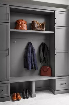 21 Mudroom Storage and Organization Ideas Coat Storage, Small Storage, Storage Spaces, Devon, Ikea Ivar Cabinet, Ceiling Shelves, Living Room Built Ins, Shaker Style Cabinets, Entryway Wall