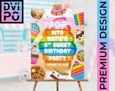 Photo Invitations, Birthday Party Invitations, Birthday Party Themes, Birthday Ideas, It's Your Birthday, 9th Birthday, Rainbow Ice Cream, Hawaiian Theme, Party Poster