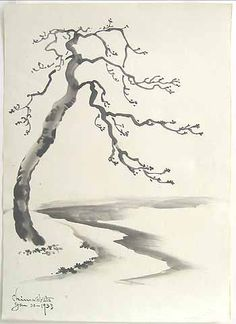 Tree at the Shore by Chiura Obata - 1933