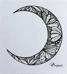 moon # crescent moon # moon series # waxing moon # zentangle ...
