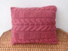 Knitted Pillow Decorative Pillow Maroon Cable by pillowsforeach