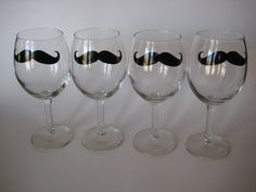 Set of 4 Mustache Wine Glasses by InsteadofZzs on Etsy, $20.00 @Kasey Jenkins @Lauren Cunkelman @Jillian Maggio @Genessa Lopez ...can we pleeeeeease get these for next year!? :D
