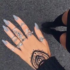 Matte grey nails More