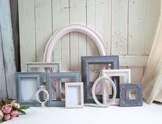 Pink and Gray Nursery Frames, Shabby Chic Blush Pink and Gray Picture Frames Grey Picture Frames, Painted Picture Frames, Picture Frame Sets, Eclectic Frames, Nursery Frames, Pink And Gray Nursery, Baby Shower Crafts, Gallery Wall Frames, Shabby Chic Frames