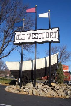 Conestoga Wagon with the Westport sign in Kansas City, MO Visit us on Facebook at: https://www.facebook.com/KansasCityMissouriLife/