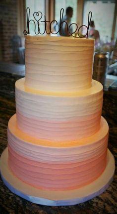 Ombre #wedding cake. Hitched cake topper.  Cake by: DeClare Cakes in #charleston  Photo Cred: @msmeg85   #happilyeverhightower #hightowerpower #charlestonwedding #cake