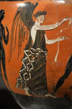 Victoria alada: la diosa espera el final de la lucha para coronar al vencedor. Ánfora Panatenaica.