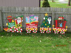 Christmas Polar Express Train Wood Outdoor Yard Art, Polar Express Train, Christmas Train, Christmas Polar Express Train, Christmas Outdoor by ChartinisYardArt on Etsy https://www.etsy.com/listing/204913279/christmas-polar-express-train-wood