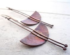 Long Pendulum Earrings // tribal hammered copper on sterling silver hooks // urban primitive (2526)