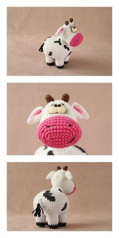 Crochet Cow, Crochet Amigurumi Free Patterns, Easter Crochet, Crochet Animal Patterns, Stuffed Animal Patterns, Crochet Animals, Crochet Crafts, Crochet Dolls, Crochet Projects