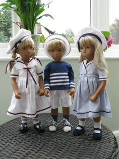 Sasha dolls in sailor outfits. Sewing Doll Clothes, American Doll Clothes, Crochet Doll Clothes, Sewing Dolls, Girl Doll Clothes, Doll Clothes Patterns, Clothing Patterns, Girl Dolls, Sailor Outfits