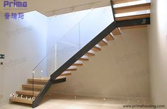 The West End Staircase is a cost effective stair constructed in powder coated mild steel carriage, toughened glass balustrade & hardwood timber treads. Floating Staircase, Staircase Railings, Staircase Design, Stairways, Balustrades, Glass Balustrade, Glass Stairs, Glass Railing, Balcony Railing