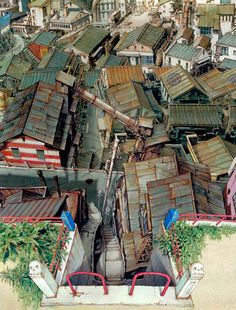 from the film TekkonKinkreet (鉄コン筋クリート ). Original comic was written by Taiyō Matsumoto (松本大洋). Level Design, Bg Design, Environment Concept Art, Environment Design, Animation Background, Art Background, Foto Picture, Dark City, Blender 3d