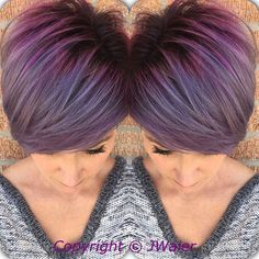 Perfect purple hair color by Jamie Waier - Pravana Vivids Magenta, Wild Orchid and Silver created this beautiful lavender/silver color melt!