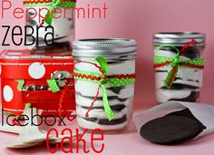 Peppermint Zebra Icebox Cakes -- I love that these are no bake and so simple .