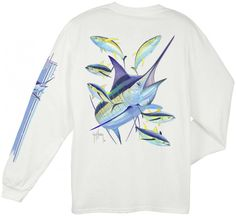 Guy Harvey Shirts - Guy Harvey Marlin Yellowfin Back-Print Long Sleeve Tee in White, $22.95 (http://www.guyharveyshirts.com/guy-harvey-marlin-yellowfin-back-print-long-sleeve-tee-in-white/)