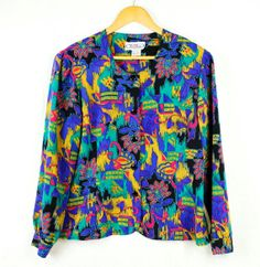 Long sleeve colourful print vintage blouse with by FannyAdamsVC, $35.00