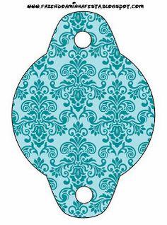 Azul Arabesco Roxo e Dourado - Kit Completo com molduras para convites, rótulos…