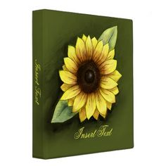 #Sunflowers #Zazzle                                        Sunflower Binder                   Sunflower, Illustration performed with pencil 6b and digital painting, Background, olive green. Monogram, overleaf.