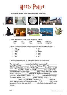 Harry Potter Past Tense worksheet - Free ESL printable worksheets made by teachers Harry Potter Activities, Harry Potter Games, Harry Potter Classroom, English Grammar, Teaching English, English Lessons, Learn English, Harry Potter English, Past Tense Worksheet