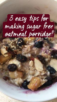 Vegan Keto Recipes, Vegan Breakfast Recipes, Cooking Recipes, Healthy Recipes, Sugar Free Oatmeal, Cranberry Orange Sauce, Oatmeal Porridge, Low Sugar Diet, Galaxy Eyes