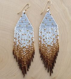 Gold Shimmer Earrings  Available in White Cream by wildmintjewelry, $60.00