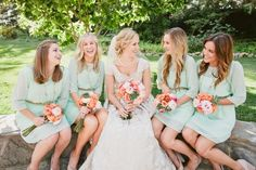 mint-colored bridesmaids dresses! // dresses from Anthropologie // photo by HelloStudioBlog.com