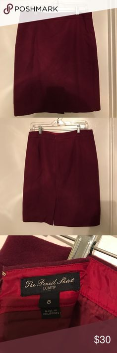 J Crew Deep Crimson Wool Pencil Skirt Deep crimson. Pencil skirt with zip back. Small slit in back. Skirt is knee length. 70% wool 30% viscose. Completely lined. Worn once! Perfect condition looks brand new. The perfect winter work skirt J. Crew Skirts Pencil