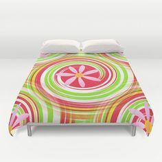 Duvet cover, colorful bedding, colorful Bedroom décor, pink duvet cover, green duvet covet, girl's room duvet cover, colorful duvet cover #duvetcover #saribelleart