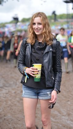 Edith: the badass Laura Carmichael from Downton Abbey at Glastonbury 2014. www.handbag.com