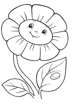 Happy daisy coloring page Easy Coloring Pages, Flower Coloring Pages, Disney Coloring Pages, Animal Coloring Pages, Printable Coloring Pages, Coloring Pages For Kids, Coloring Books, Kids Coloring, Art Drawings For Kids