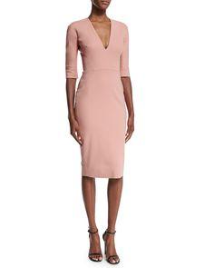 Half-Sleeve V-Neck Sheath Dress, Blush Pink, Size: UK8/US4 - Victoria Beckham