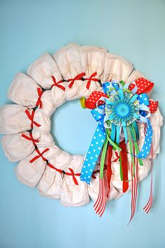 When I saw this on Pinterest, I thought it was a super-cute super-clever Advent Calendar wreath. But I folowed the trail back to the source, and it is actually a DIAPER wreath! Hahahaha!