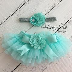 SET Mint/Aqua tutu skirt bloomers diaper cover, shabby chiffon satin rhinestone flower silver glitter headband bow, newborn infant toddler baby girl photo shoot outfit set by HoneyLove Boutique