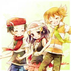 Pokémon DPPT Left To Right: Diamond/Lucas,Platinum/Dawn,Pearl/Barry