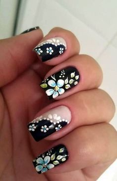 Flower nail designs are perfect for Teen Girls. There are many choices of flower nail designs for you. Flower Nail Designs, Simple Nail Art Designs, Flower Nail Art, Easy Nail Art, Spring Nails, Summer Nails, Trendy Nails, Cute Nails, Pastel Nail Art