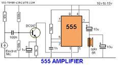world technical: 555 amplifier Circuit