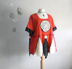 Plus Size Top 3X Bohemian Clothing Red Black Women's Upcycled Clothes Shirt Wearable Art Tunic Top 'TEENA'. $79.00, via Etsy.