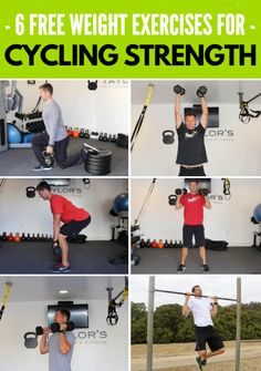6 Free Weight Exercises for Cycling Strength - Are you coming up short on hills? Running out of steam at the end of a race? Help is here, and it c - Bicycle Workout, Cycling Workout, Women's Cycling, Cycling Jerseys, Bike Workouts, Cycling Motivation, Fitness Motivation, Cycling Quotes, Body Weight Training