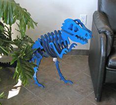 DIY - Dinosaur model laser cut. 3d t-rex dinosaur model puzzle skeleton. mdf. corel cdr free download file