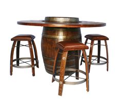 Barrel table with stools.