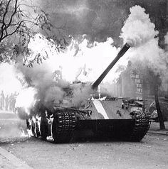 History of Czechia : Burning Soviet tank, when Czech unarmed civilians fought against Soviet army by Molotov cocktails . Vintage Photography, Street Photography, Kingdom Of Bohemia, Prague Spring, Mountain City, Visit Prague, Soviet Army, Heart Of Europe, City Buildings