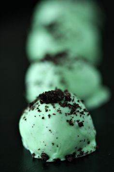 "What's better than a mint oreo cookie?  A mint oreo truffle from the inspiration of Amandeleine!  Crushed up oreos, cream cheese, and mint bathed in white chocolate and dusted with cookie crumbs...yes, please!  As she says, ""These certainly are a guilty pleasure. Small, delicious and easy to consume?  That's what guilty food pleasures are made of.""  I couldn't agree more!"