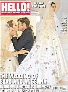 Angelina Jolie and Brad Pitt became engaged in April 2012, and after seven years together, they married on Aug. 23, 2014, at their estate in France. Angelina's Atelier Versace dress was decorated with her children's artwork.