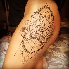 Newest tattoo, linework, mandala, hip tattoo, thigh tattoo, dot work dotwork tattoo, tattoo for girls