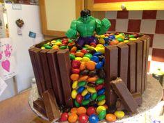 Hulk kit Kat and m&m cake